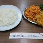 67060357 - 日替わりランチ内容 チキンカツ、肉玉(17-05)