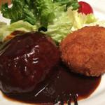 銀座洋食 三笠會館 - ハンバーグ&海老カツランチ