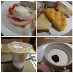 神戸屋ブレッズ - ◆左上・・ハム・ポテトサラダ・野菜サラダ少々◆右上・・夕張メロンパン(半量)・ホテルトースト(半切れ)・ライ麦パン(半切れ)、小さなバターが付きます。◆左上:カフェオレ ◆右下:ヨーグルト、ブルーベリージャム添え。