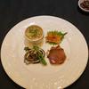 Sutsunresutoranchin - 料理写真:前菜」]・・・・・アワビ 葱と生姜で 菜の花添え、鰤の紹興酒漬け、白海老の押し豆腐和え 冬虫夏草とパクチーとともに、鶏の焼き物 醤油風味
