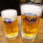 大衆食堂 稲田屋 - 生ビール 中ジョッキ、大ジョッキ