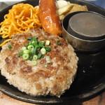ハンバーグ ストロング  - 黒毛和牛100%ハンバーグステーキ(L)、がぶり骨付きフランク