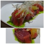 TTOAHISU - *鰹自体も旨みを感じて美味しいですけれど、茗荷・葱油・熊本トマトのピューレ・ピ^ナッツ etc等で調味されいいお味ですよ。