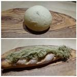 TTOAHISU - ◆パンは2種類・・上は牛乳パン。 下のパンは梅干し入りの米粉パン。何度か頂いていますが今回は上に「とろろこんぶ」がのせられていました。 イメージとしては「梅」+「米粉」+「とろろ昆布」で「おにぎり」だそうな