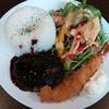 バーガーズカフェ グリルフクヨシ - 料理写真:デミグラスハンバーグ&大海老フライプレート