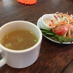 67111492 - ランチのカップスープとサラダ