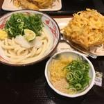 丸亀製麺 - おろし醤油うどん(小)290円と、野菜のかき揚げ130円