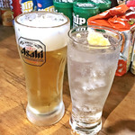立ち飲み 小島 - スーパードライ ¥400 / しょうがハイ ¥300