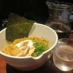 我武者羅 - 料理写真:煮干し比内地鶏油SOBAと水