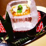 さ行 - 先付け 氷の器のそうめんと穴子寿司のちまき