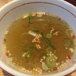 67142525 - 海老薫る塩つけそば スープ割り! アラレが追加されます☆