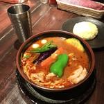 ラマイ - ブヒ 1100円(税込)       御飯少なめ、スープ多め、辛さブダス(10倍)50円(税込)