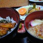 カドヤ - 鰻丼+味噌カツ+きしめん+豆腐田楽1150円