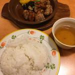 サイゼリヤ - 鶏肉のオーブン焼きバルサミコ甘酢ソース☆★★☆ ライス大 スープはセルフ