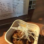焼き鳥スタンド酒場 角福 - 砂ずりラー油、350円