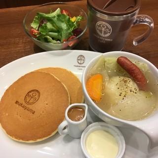 向山製作所cafe  S-PAL郡山店 - パンケーキ具沢山スープディッシュ