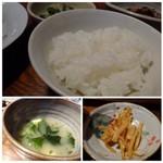 67174492 - *ご飯はツヤがあり美味しい。量は少なめですので、男性には物足りないかも。 *お味噌汁には「お豆腐」「ワカメ」が入っています。麦味噌ベースの合わせ味噌のような味わいでした。