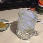 一ぱいや - ドリンク写真:まずはレモン(+ライム)酎ハイで。お通しのタクアンふた切れwith爪楊枝がイイ!いやしかしこれちょっとケインじゃない?ケイン。(こすぎ)