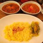 レインボウスパイス - Wカリー(北インド風チキンマサラカリー、南インド風野菜マサラカリー)