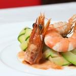 フランス料理  セルジュ&ジェーン - ズッキーニで包み込んだ天使海老のファルス