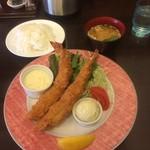 レストラン山猫軒 - 天然特大エビフライ2尾、ライス、味噌汁(2016,10)