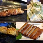 67218514 - 鶏串(塩)155円/塩タレおつまみキャベツ290円/チーズつくね(タレ)176円/じゃこ天420円