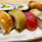徐福寿司 - 料理写真:小盛合わせ   かんぴょうやバッテラが美味しい♪