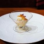 Restaurant Re: - 北海道産ホタテ、 シェリーのジュレ、 自家製スモークのクリームチーズ、 イカと雲丹のタルタル、 穂紫蘇
