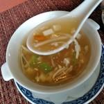 ホテルオークラレストラン新宿 中国料理 桃里 - [料理] 豆腐ときのこのスープ ひと口大 アップ♪w