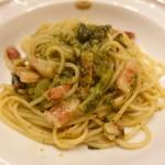ピッツェリア・サバティーニ - パンチェッタとバジルのスパゲッティ