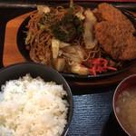 市川食堂 - メンチカツ焼きそばセット\870
