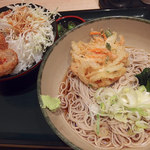 箱根そば - カレー&トマトメンチカツ丼セット・冷そば(660円)