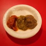 東京ミート酒場 - くらべ焼き三種盛り(イベリコ豚、羊、鶏肉)の味噌