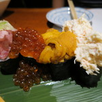 海鮮炉ばた 隠れ家 - 海鮮のっけ寿司 1550円(2017年5月)
