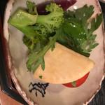 築地 熊ごろう - お通し500円。新鮮で野菜の輪郭をはっきりと感じられる。専門店より美味しい。