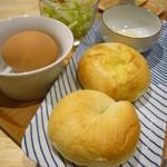 Organic Cafe いち - ベーグル,蜂蜜,茹卵