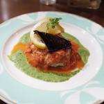 欧風バル・マザン - ハンバーグステーキ トマトとチーズのソース(980円)