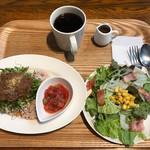 67267343 - 私の朝食、タコライス、プレミアムコーヒー、サラダ和風ごまドレッシング