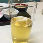 しん - 緑茶ハイはこの状態で渡されるので自分で氷を入れる