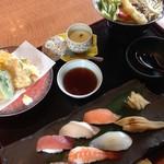 常盤和み家 - 天ぷら寿司御膳 1814円