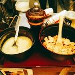 辛麺 真空 - にんにくとにんにくチップ。