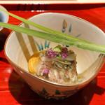 銀座 しのはら - 玉子豆腐にうにしゃこの煮凝りかけ