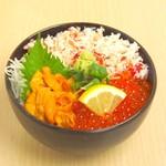 どんぶり茶屋 - 三色丼(かに・いくら・うに)2880円