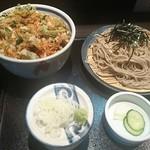 名古屋 やぶ - 天丼定食 ざる又はかけの蕎麦+小海老と三つ葉のかき揚げ 1,100円