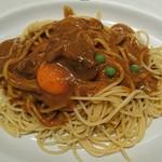 インデアンカレー - スパゲッティ♪インデアンスパゲッティ(+生タマゴ)♪