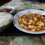 玉蘭 - 麻婆豆腐定食。ピリ辛で旨し。ご飯はかなり多めです。