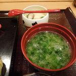 鮨 割烹 駒 - お味噌汁と茶わん蒸し