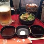 天串 - 左からソース、塩、ポン酢