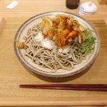 中村麺兵衛 - 十割海老かき揚げぶっかけ蕎麦 590円 + 大盛り 280円
