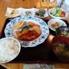 喫茶・軽食 ふれあい家族 - 料理写真:山菜に囲まれた「気まぐれ定食900円税込」今回は豚ステーキと大量の山菜